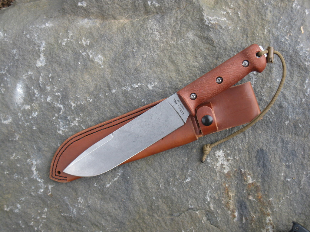 UTK0200-SS with Natural Canvas Micarta Contour handle and Custom Utility Tool AE Nelson Leather Sheath
