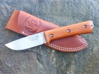 "Prototype UTK0100 4.0"" Blade with stonewashed finish and natural canvas micarta Handle #3 and Utility Tool/AE Nelson Leather Pocket Sheath"