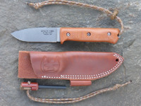 UTK0097 Stonewashed, Handle 1 in Natural Micarta with Utility Tool Handi-Fire Tool and Sheath