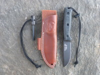 UTK0100 Black Oxide, Handle 5 in Black Micarta with Utility Tool Handi-Fire Tool and Sheath