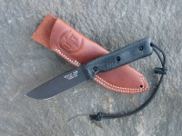 UTK0110 Black Oxide, Handle 4 in Black Micarta with Standard Sheath