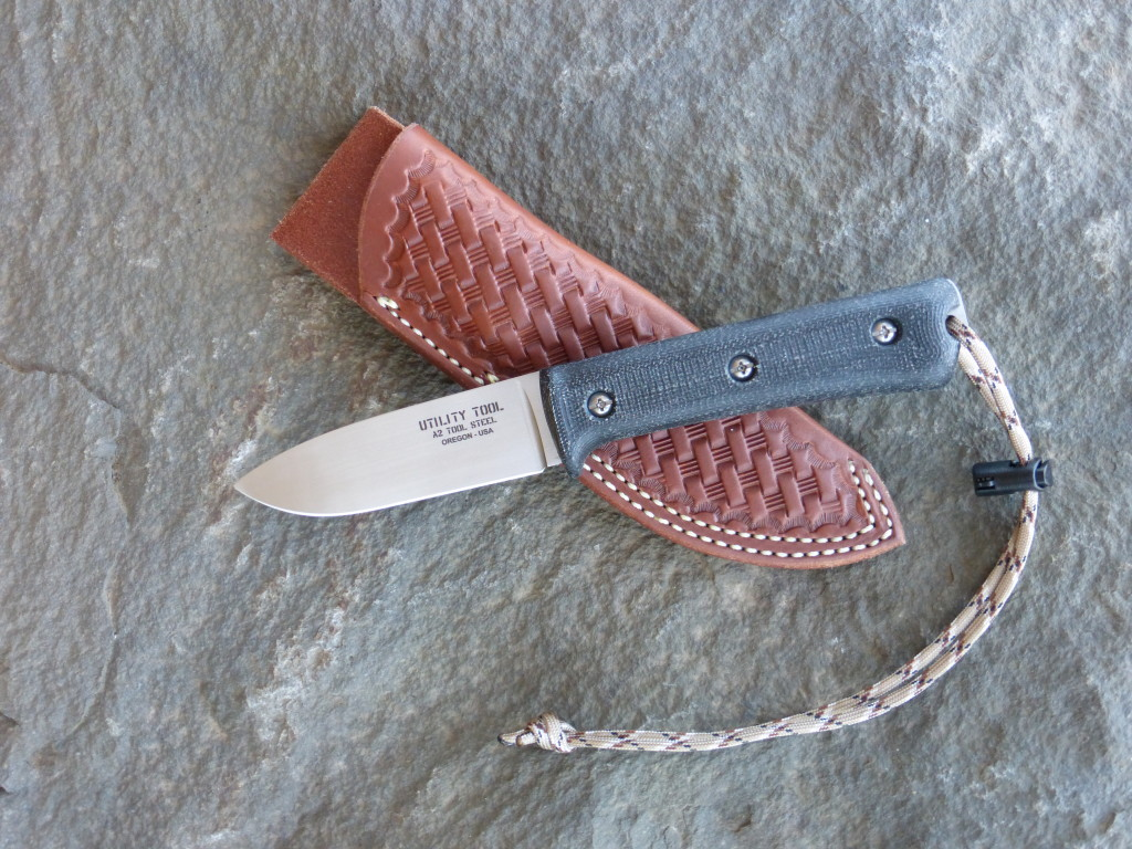 "Limited Edition Utility Tool UTK0097 3.85"" Blade Wilderness Knife in A2 Tool Steel handfinished to a satin luster and sharpened by Alan C. Warren, Portland Oregon custom knife maker."