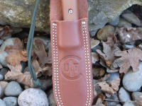 Utility Tool Classic Wilderness Knife prototype in sheath, right hand carry