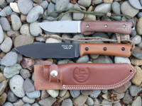 "UTK0151 6"" Wilderness Knife prototype (black oxide) compared to UTK0100 4"" Wilderness Knife"