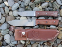 "UTK0151 6"" Wilderness Knife prototype (stonewashed) compared to UTK0100 4"" Wilderness Knife"