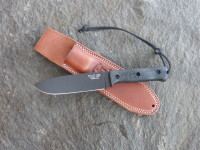UTK0151 AB (Black Oxide finish) shown with Black Micarta Number 1 handle and Classic leather sheath.