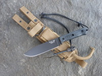 UTK0151 AB (Black Oxide finish) shown with Black Micarta Number 1 handle and Handi-Fire Tool with Spec Ops Combat Master short sheath in Coyote.