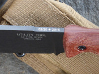 UTK0151 AB (Black Oxide finish) shown with Natural Micarta Number 4 handle - Detail of serial number marking and Spec Op Brand sheath.