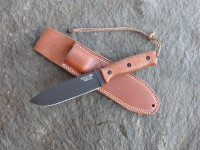 UTK0151 AB (Black Oxide finish) shown with Natural Micarta Number 5 handle and Classic leather sheath.