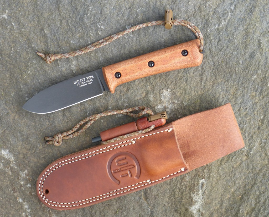 UTK0107 Kephart Classic in Black Oxide with Classic leather sheath and Handi-Fire Tool.