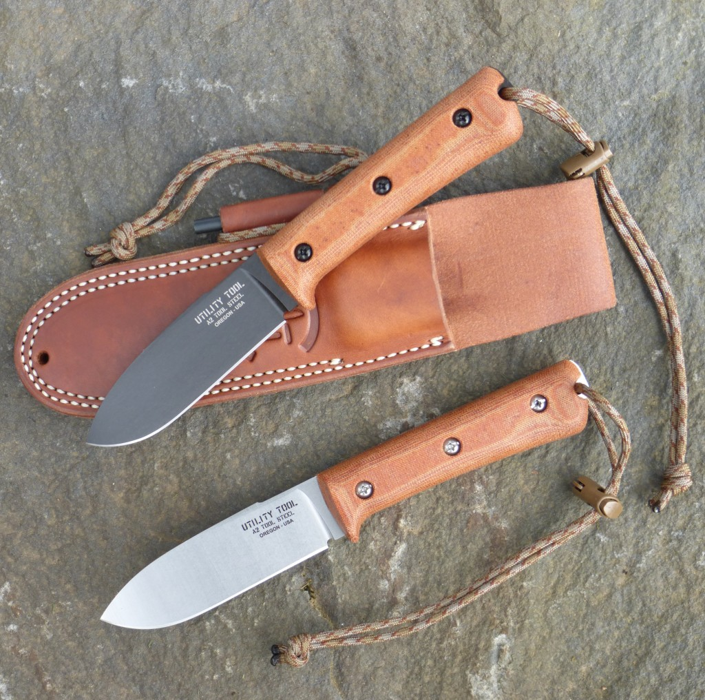 UTK0107 Kephart Classic Wilderness Knives in Black Oxide and Stone Washed finishes.