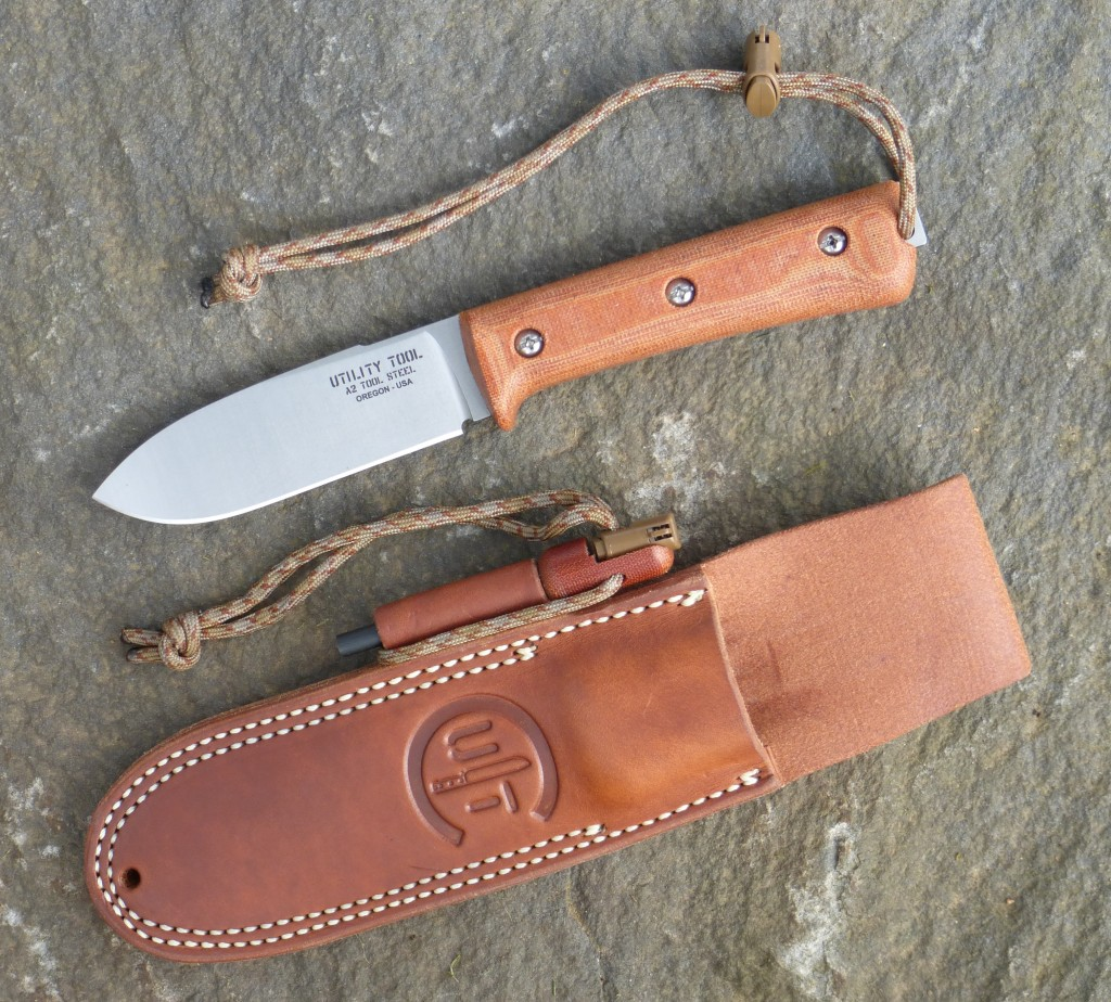 UTK0107 Kephart Classic in Stone Washed finish with Classic leather sheath and Handi-Fire Tool.