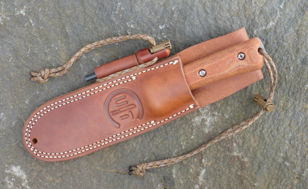 Utility Tool – AE Nelson Classic Leather sheath with Handi-Fire Tool loop and Handi-Fire Tool.  Shown with UTK0107 Kephart Classic Wilderness Knife inserted in sheath in right hand carry position.