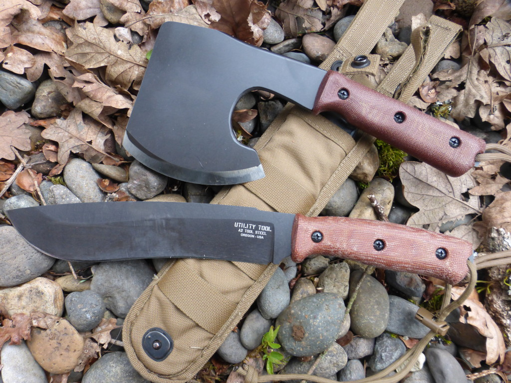 "UTK0197 8"" blade Wilderness Knife prototype shown with a UTT010X Woods Tool prototype (top)."